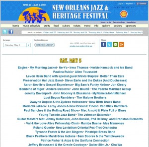 These bands are playing at Jazzfest 2012